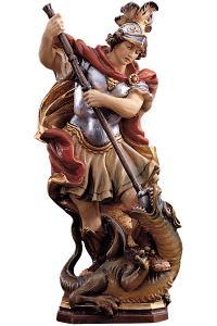 Holz Skulptur Heiliger Georg Metallobjekte